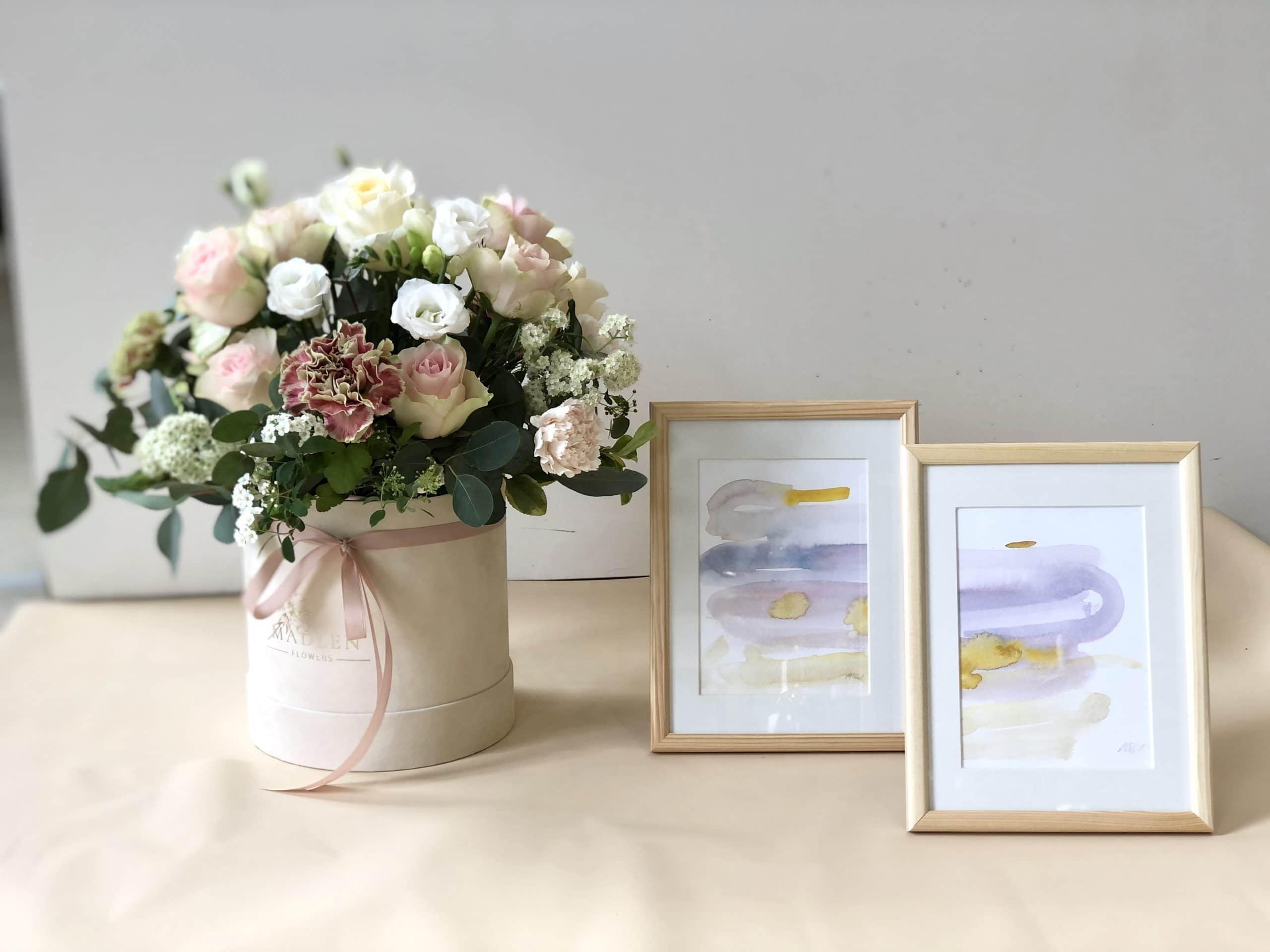 Zestaw dla Mamy – flowerbox pastelowy + obrazki akwarele