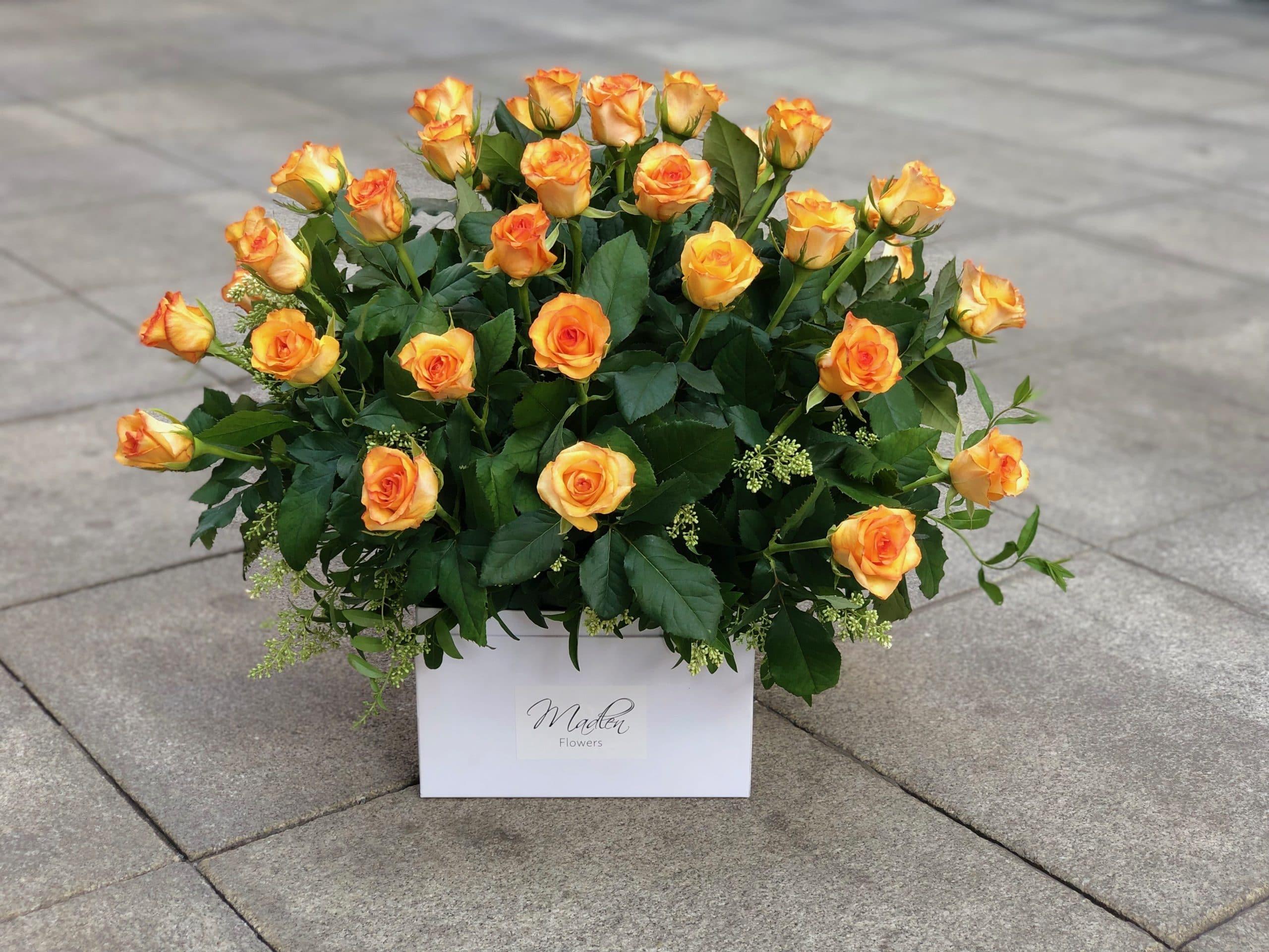 Flowerbox Pomarańczowe Róże