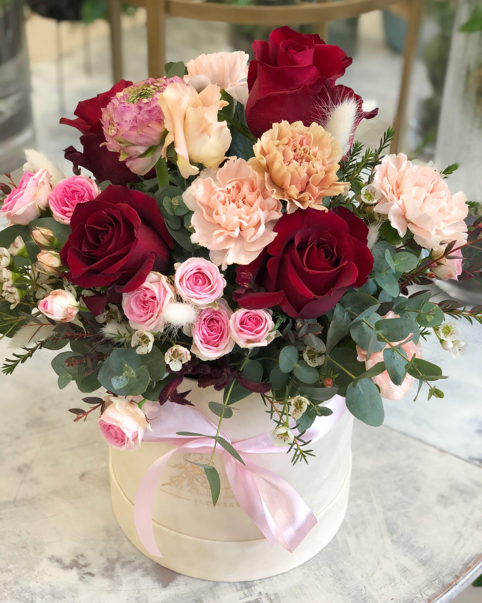 Flowerbox Beżowo Bordowy