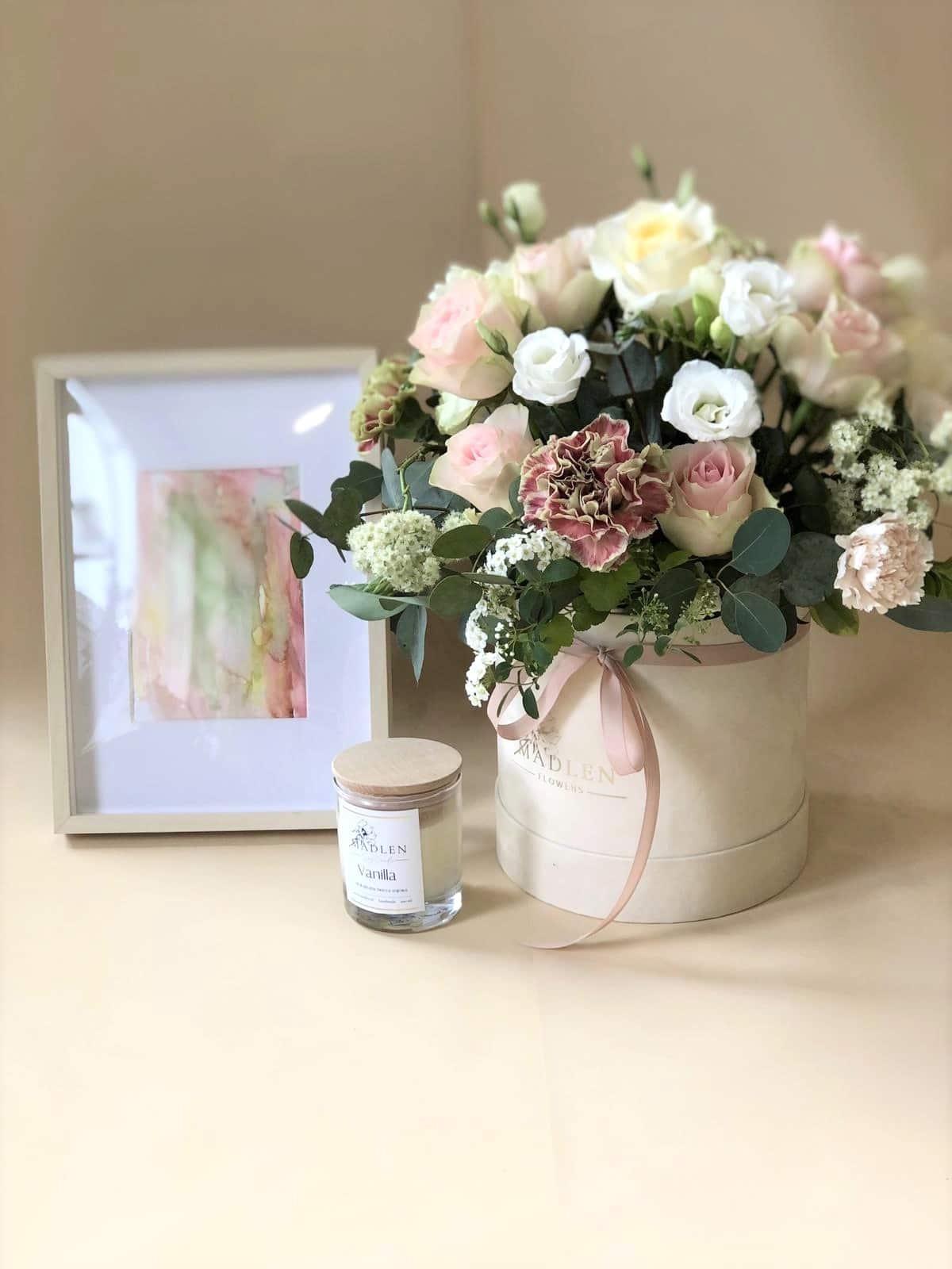 Zestaw Dla Mamy II – flowerbox pastelowy, obrazek, świeca